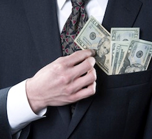 Businessman w/cash in suit coat