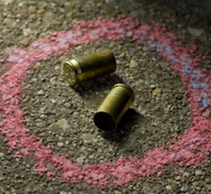 Bullets circled w/chalk